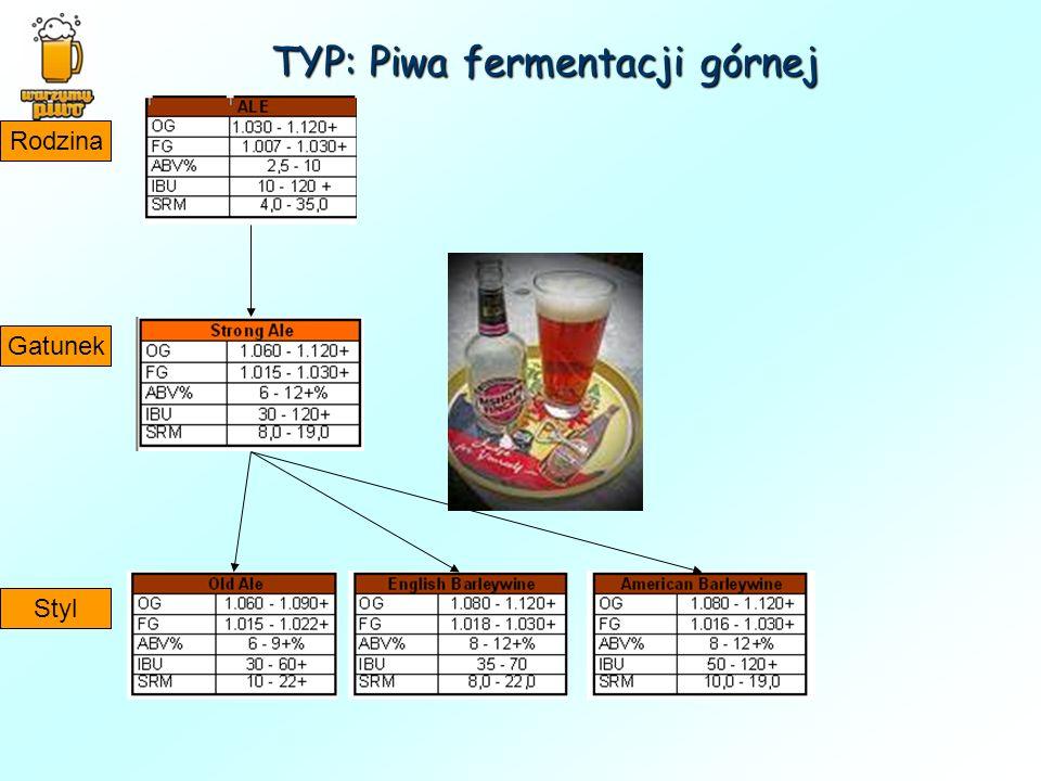 TYP: Piwa fermentacji górnej Rodzina Gatunek Styl