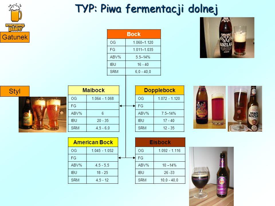 TYP: Piwa fermentacji dolnej Bock OG1.060–1.120 FG1.011–1.035 ABV%5.5–14% IBU16 - 40 SRM6,0 - 40,0 Gatunek Styl Maibock OG1.064 - 1.068 FG ABV%6 IBU20