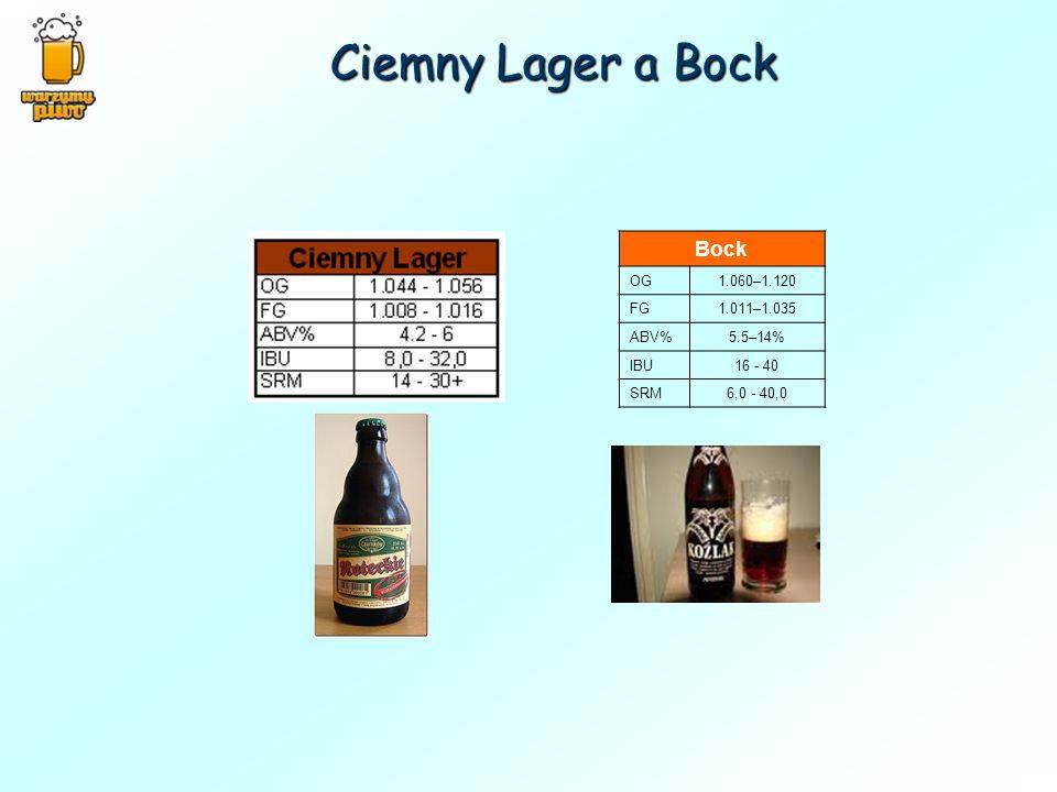 Ciemny Lager a Bock Bock OG1.060–1.120 FG1.011–1.035 ABV%5.5–14% IBU16 - 40 SRM6,0 - 40,0