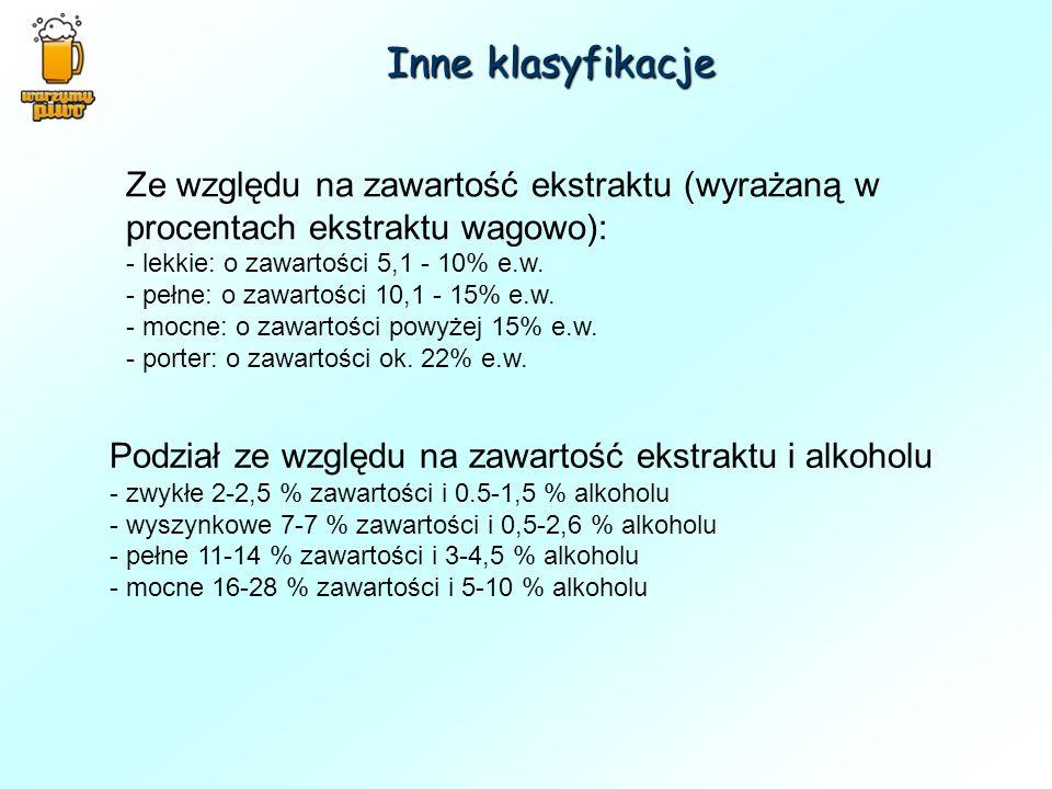 Inne klasyfikacje Ze względu na zawartość ekstraktu (wyrażaną w procentach ekstraktu wagowo): - lekkie: o zawartości 5,1 - 10% e.w. - pełne: o zawarto