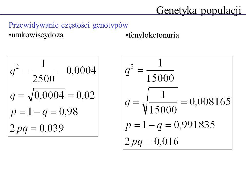 Przewidywanie częstości genotypów mukowiscydoza Genetyka populacji fenyloketonuria
