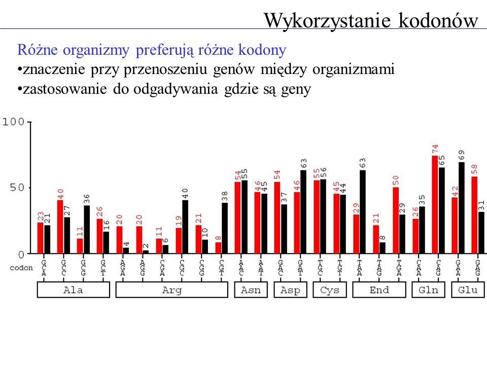 Wykorzystanie kodonów Różne organizmy preferują różne kodony znaczenie przy przenoszeniu genów między organizmami zastosowanie do odgadywania gdzie są