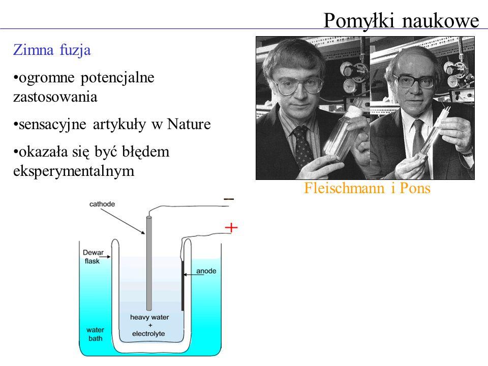 Pomyłki naukowe Zimna fuzja ogromne potencjalne zastosowania sensacyjne artykuły w Nature okazała się być błędem eksperymentalnym Fleischmann i Pons