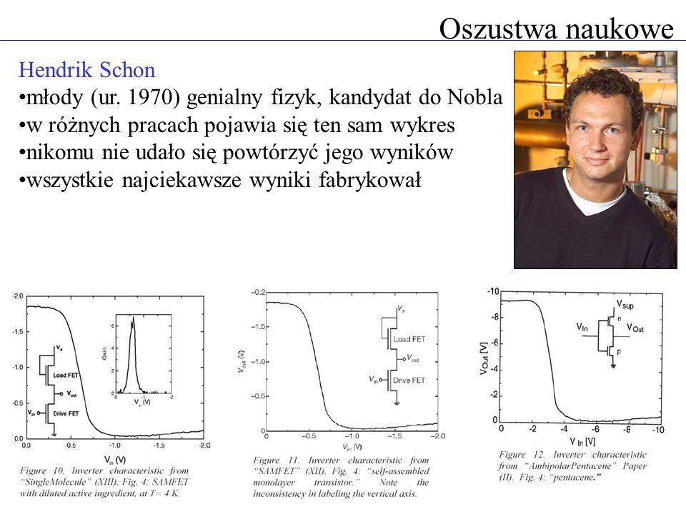 Oszustwa naukowe Hendrik Schon młody (ur. 1970) genialny fizyk, kandydat do Nobla w różnych pracach pojawia się ten sam wykres nikomu nie udało się po