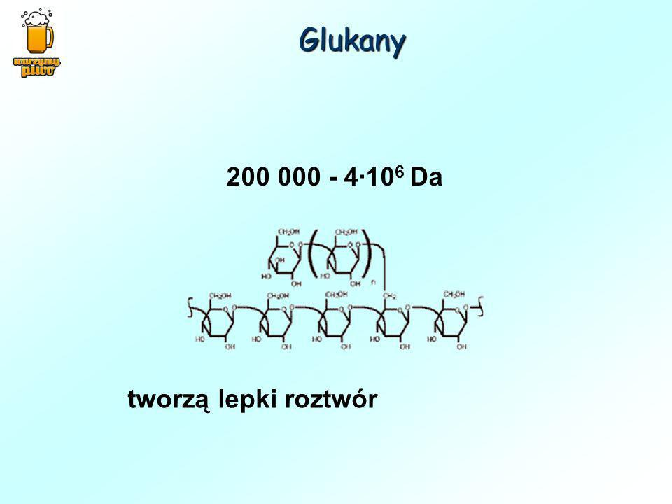 tworzą lepki roztwór 200 000 - 4·10 6 Da Glukany