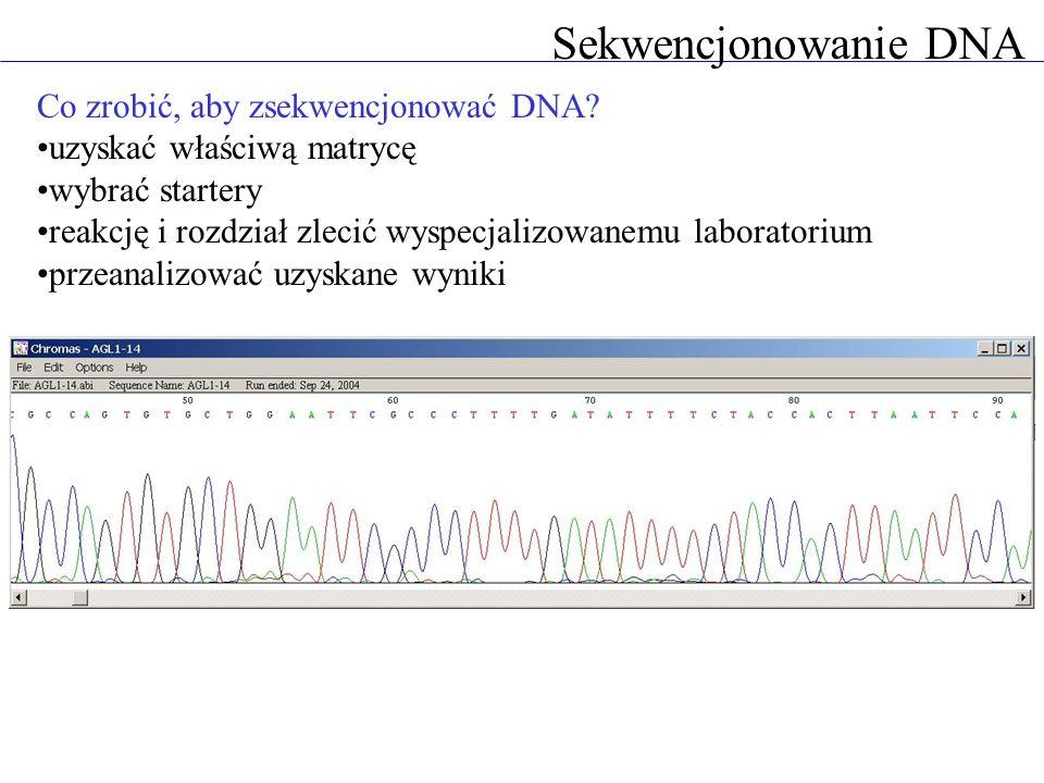 Sekwencjonowanie genomów Główny problem: reakcja sekwencjonowania sięga tylko do 1000 pz startery wewnętrzne lub DNA pocięty na krótkie fragmenty jak ustalić kolejność krótkich sekwencji.