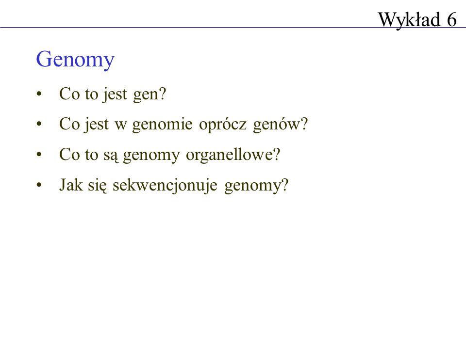 Genomy Co to jest gen? Co jest w genomie oprócz genów? Co to są genomy organellowe? Jak się sekwencjonuje genomy? Wykład 6