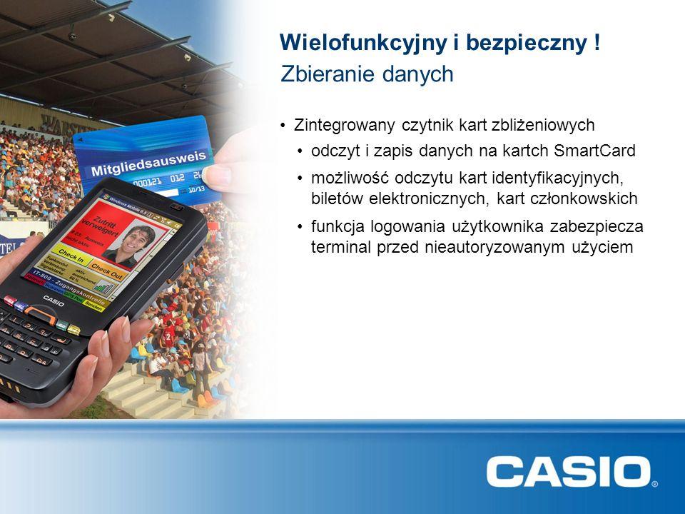 Zbieranie danych funkcja logowania użytkownika zabezpiecza terminal przed nieautoryzowanym użyciem Zintegrowany czytnik kart zbliżeniowych odczyt i za