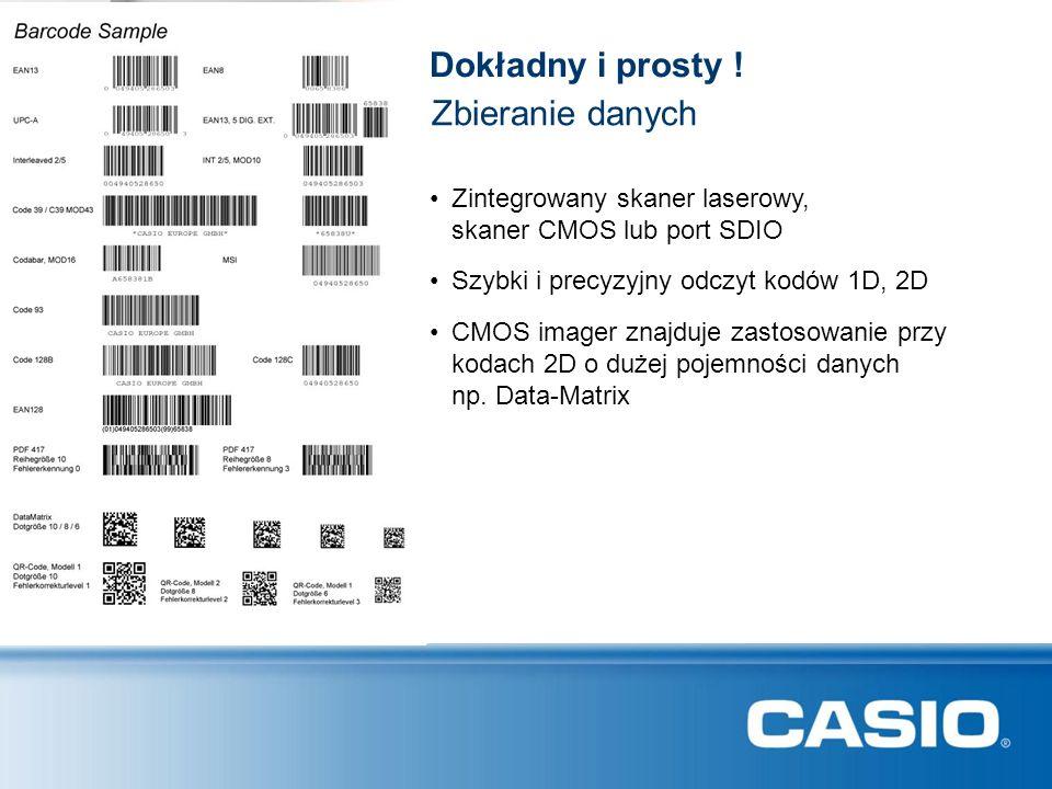 Dokładny i prosty ! Zbieranie danych Zintegrowany skaner laserowy, skaner CMOS lub port SDIO Szybki i precyzyjny odczyt kodów 1D, 2D CMOS imager znajd
