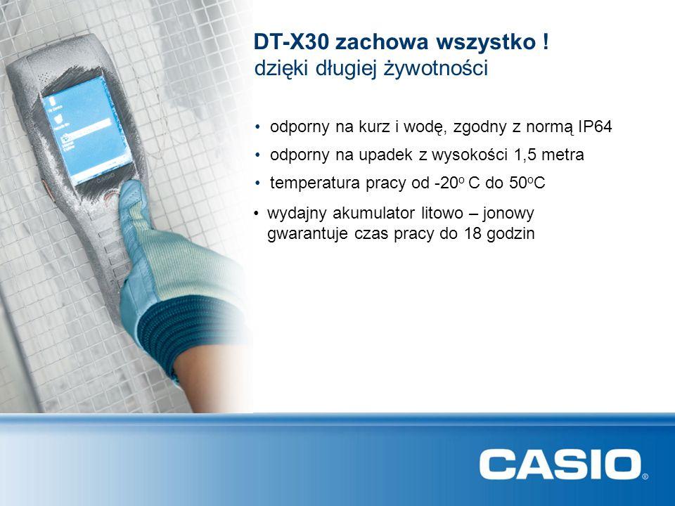 DT-X30 zachowa wszystko ! dzięki długiej żywotności odporny na kurz i wodę, zgodny z normą IP64 odporny na upadek z wysokości 1,5 metra temperatura pr