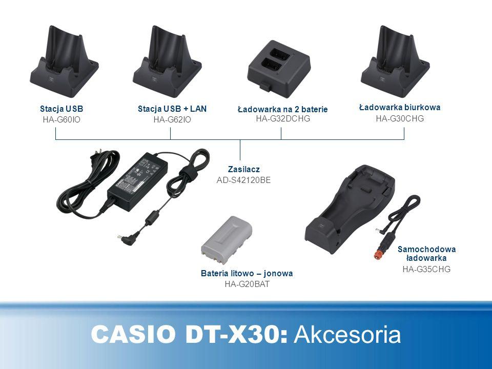 CASIO DT-X30: Akcesoria Stacja USB HA-G60IO Stacja USB + LAN HA-G62IO Ładowarka na 2 baterie HA-G32DCHG Ładowarka biurkowa HA-G30CHG Samochodowa ładow