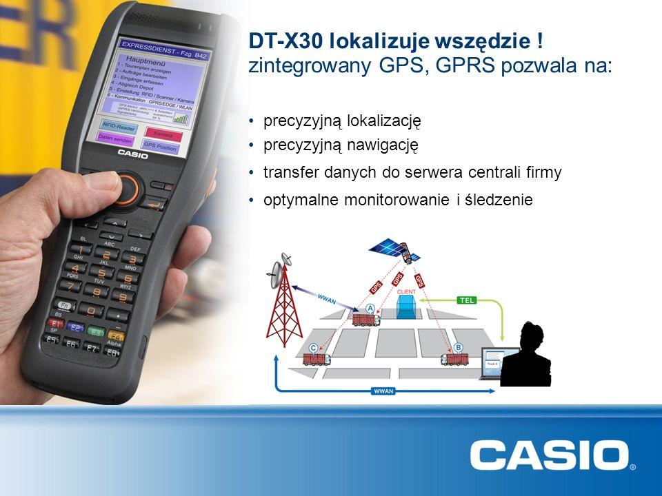 precyzyjną lokalizację DT-X30 lokalizuje wszędzie ! precyzyjną nawigację zintegrowany GPS, GPRS pozwala na: transfer danych do serwera centrali firmy