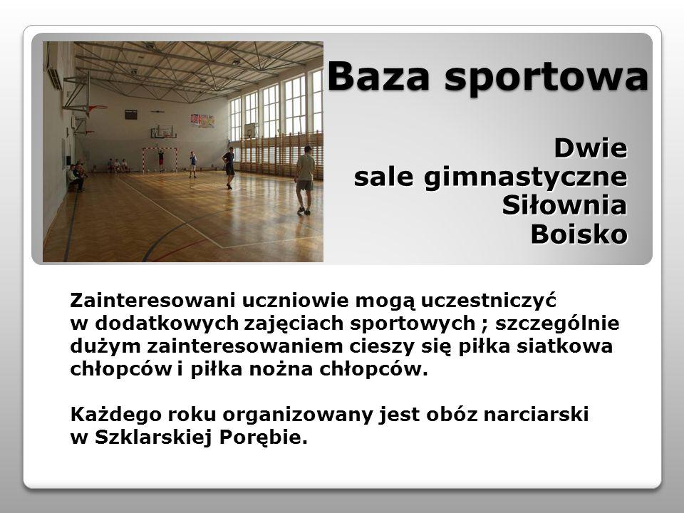 Baza sportowa Baza sportowa Dwie Dwie sale gimnastyczne SiłowniaBoisko Zainteresowani uczniowie mogą uczestniczyć w dodatkowych zajęciach sportowych ;