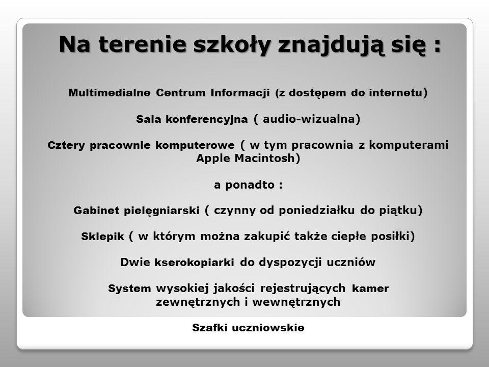 Multimedialne Centrum Informacji (z dostępem do internetu ) Sala konferencyjna ( audio-wizualna) Cztery pracownie komputerowe ( w tym pracownia z komp