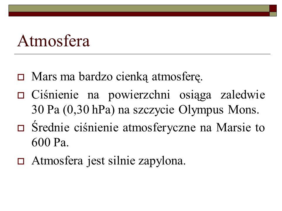 Atmosfera Mars ma bardzo cienką atmosferę. Ciśnienie na powierzchni osiąga zaledwie 30 Pa (0,30 hPa) na szczycie Olympus Mons. Średnie ciśnienie atmos