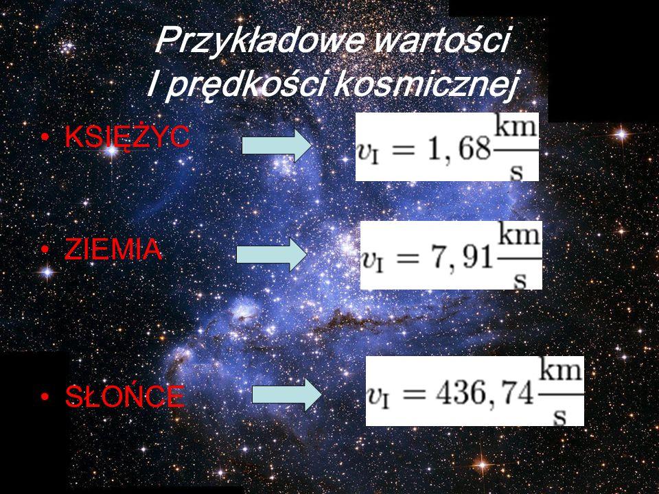 Przykładowe wartości I prędkości kosmicznej KSIĘŻYC ZIEMIA SŁOŃCE