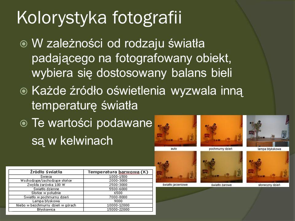 Kolorystyka fotografii W zależności od rodzaju światła padającego na fotografowany obiekt, wybiera się dostosowany balans bieli Każde źródło oświetlen