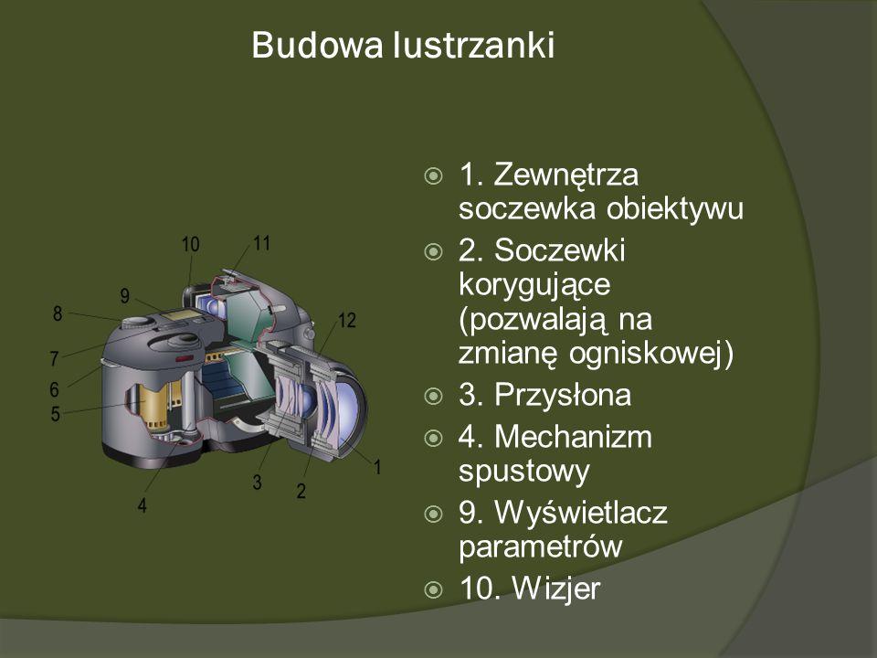 Budowa lustrzanki 1. Zewnętrza soczewka obiektywu 2. Soczewki korygujące (pozwalają na zmianę ogniskowej) 3. Przysłona 4. Mechanizm spustowy 9. Wyświe
