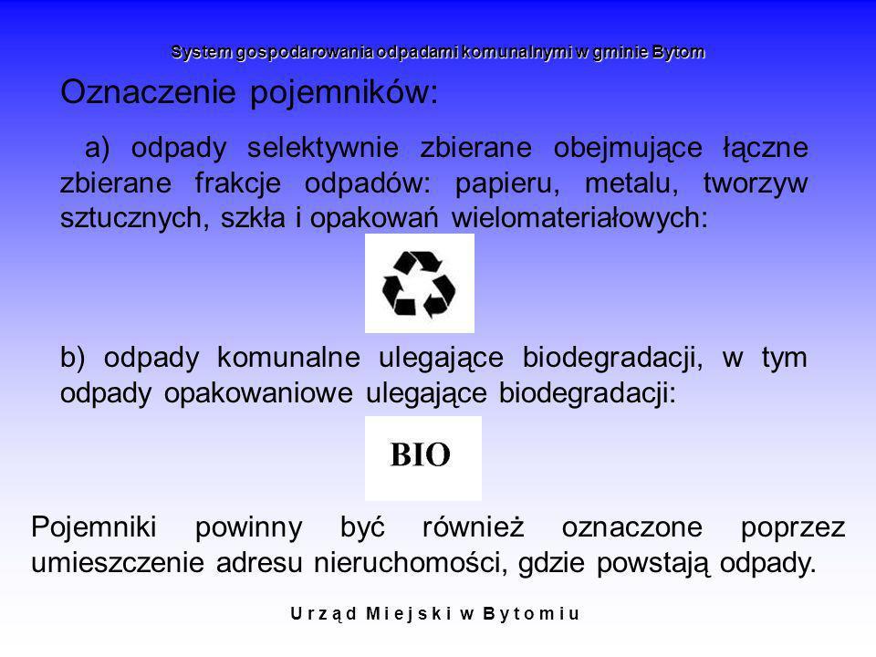 U r z ą d M i e j s k i w B y t o m i u System gospodarowania odpadami komunalnymi w gminie Bytom Oznaczenie pojemników: a) odpady selektywnie zbieran