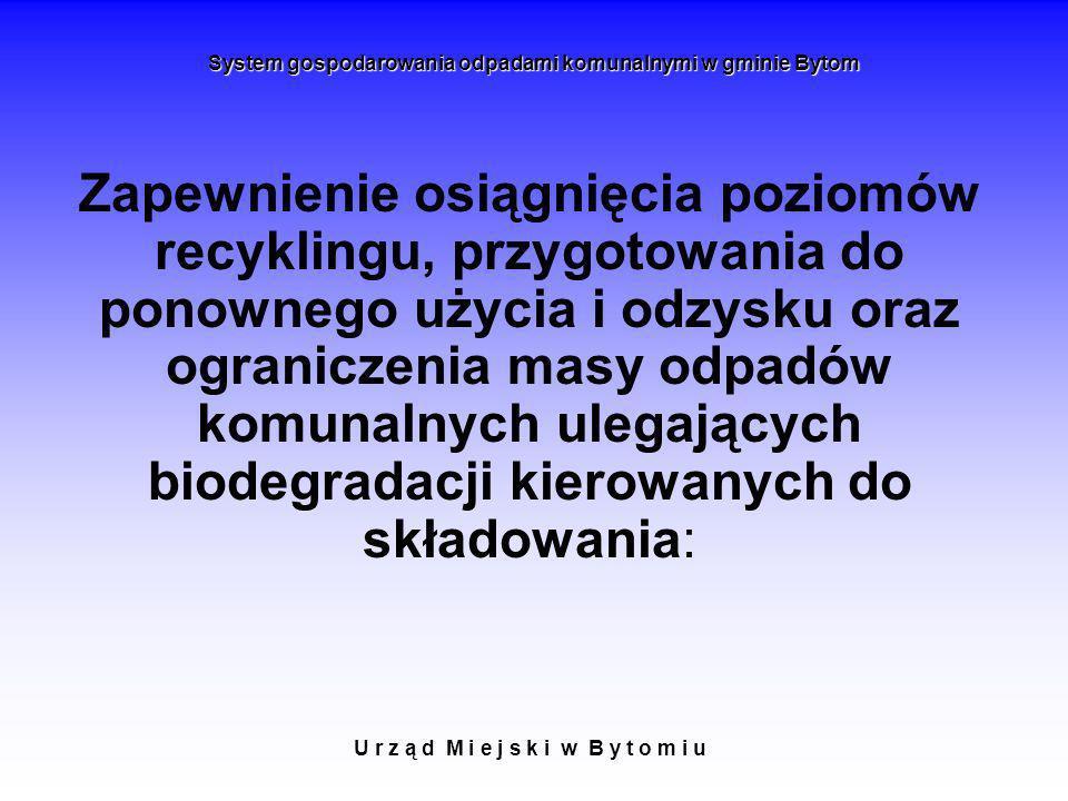U r z ą d M i e j s k i w B y t o m i u System gospodarowania odpadami komunalnymi w gminie Bytom Zapewnienie osiągnięcia poziomów recyklingu, przygot