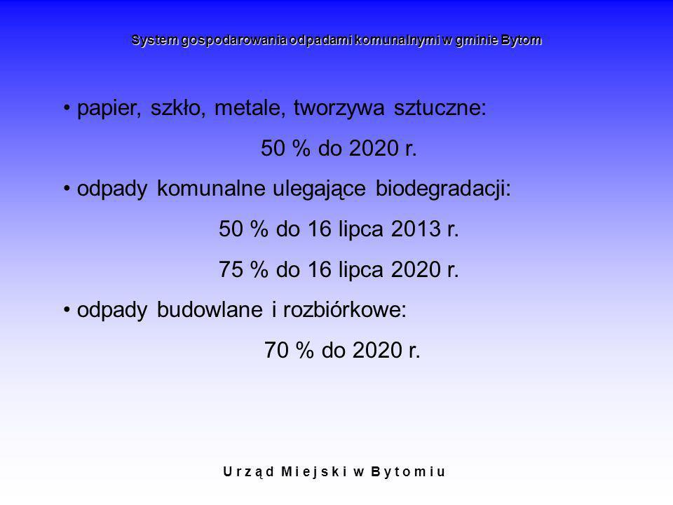 U r z ą d M i e j s k i w B y t o m i u System gospodarowania odpadami komunalnymi w gminie Bytom papier, szkło, metale, tworzywa sztuczne: 50 % do 20