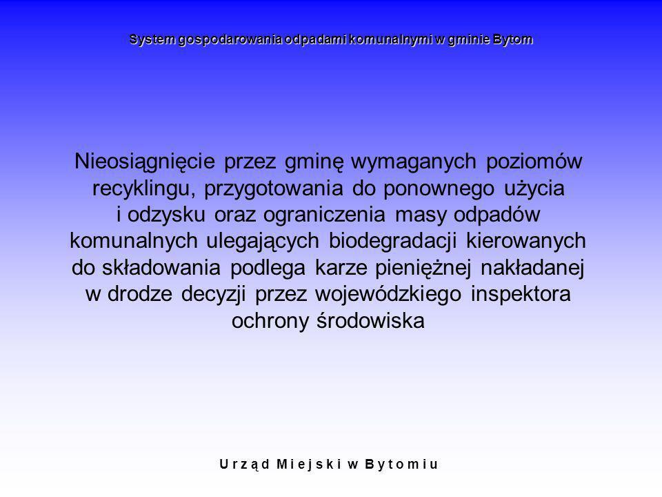 U r z ą d M i e j s k i w B y t o m i u System gospodarowania odpadami komunalnymi w gminie Bytom Nieosiągnięcie przez gminę wymaganych poziomów recyk