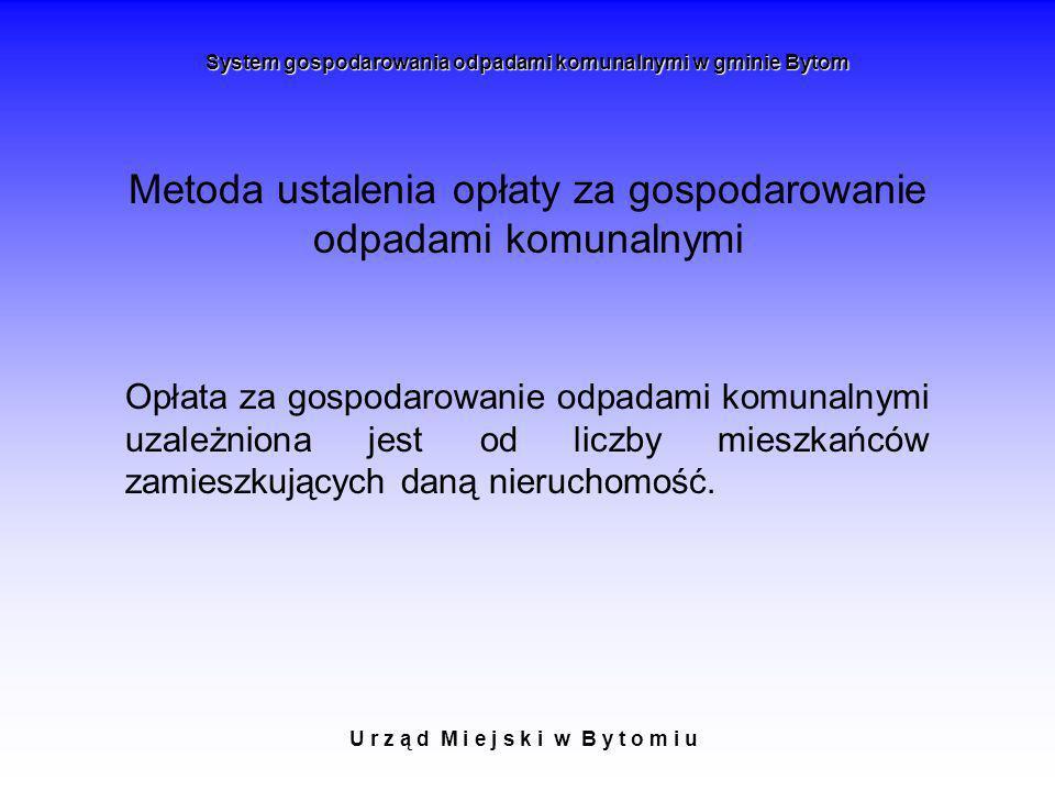 U r z ą d M i e j s k i w B y t o m i u System gospodarowania odpadami komunalnymi w gminie Bytom Metoda ustalenia opłaty za gospodarowanie odpadami k