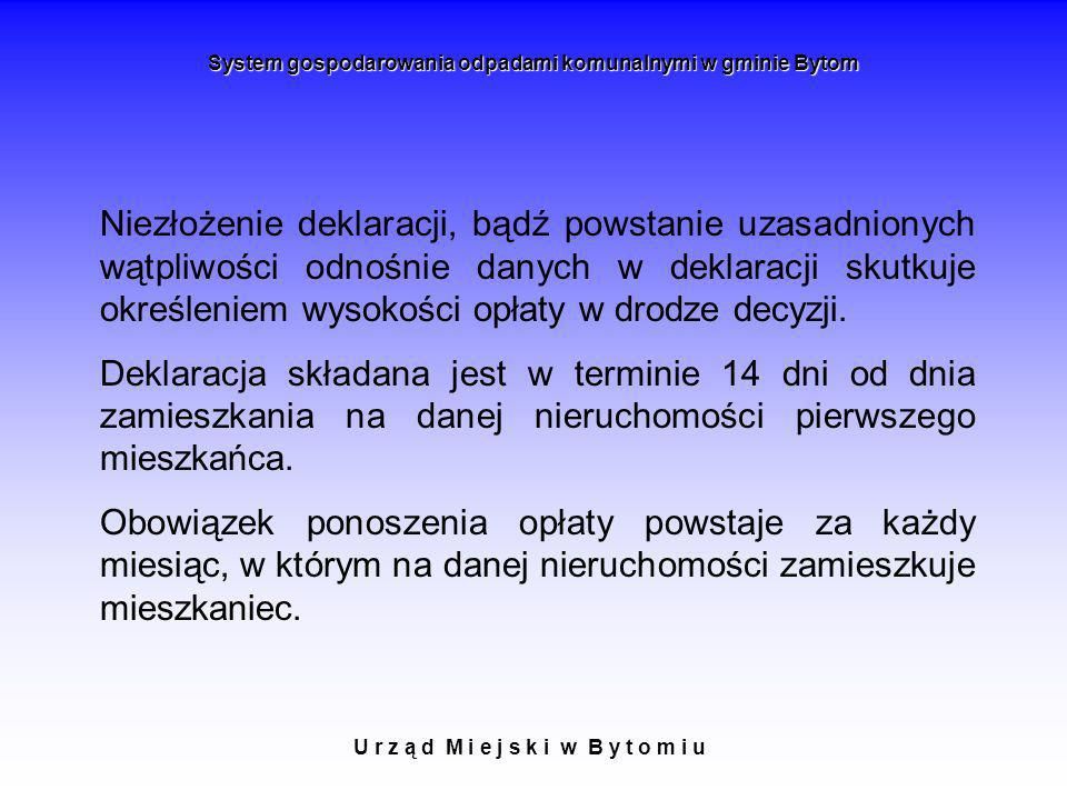 U r z ą d M i e j s k i w B y t o m i u System gospodarowania odpadami komunalnymi w gminie Bytom Niezłożenie deklaracji, bądź powstanie uzasadnionych