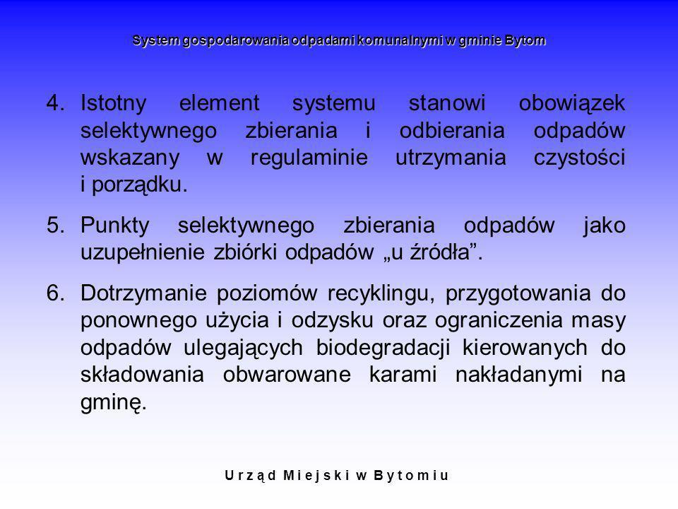 U r z ą d M i e j s k i w B y t o m i u System gospodarowania odpadami komunalnymi w gminie Bytom 4.Istotny element systemu stanowi obowiązek selektyw
