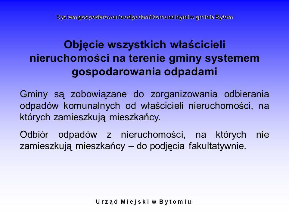 Objęcie wszystkich właścicieli nieruchomości na terenie gminy systemem gospodarowania odpadami U r z ą d M i e j s k i w B y t o m i u System gospodar