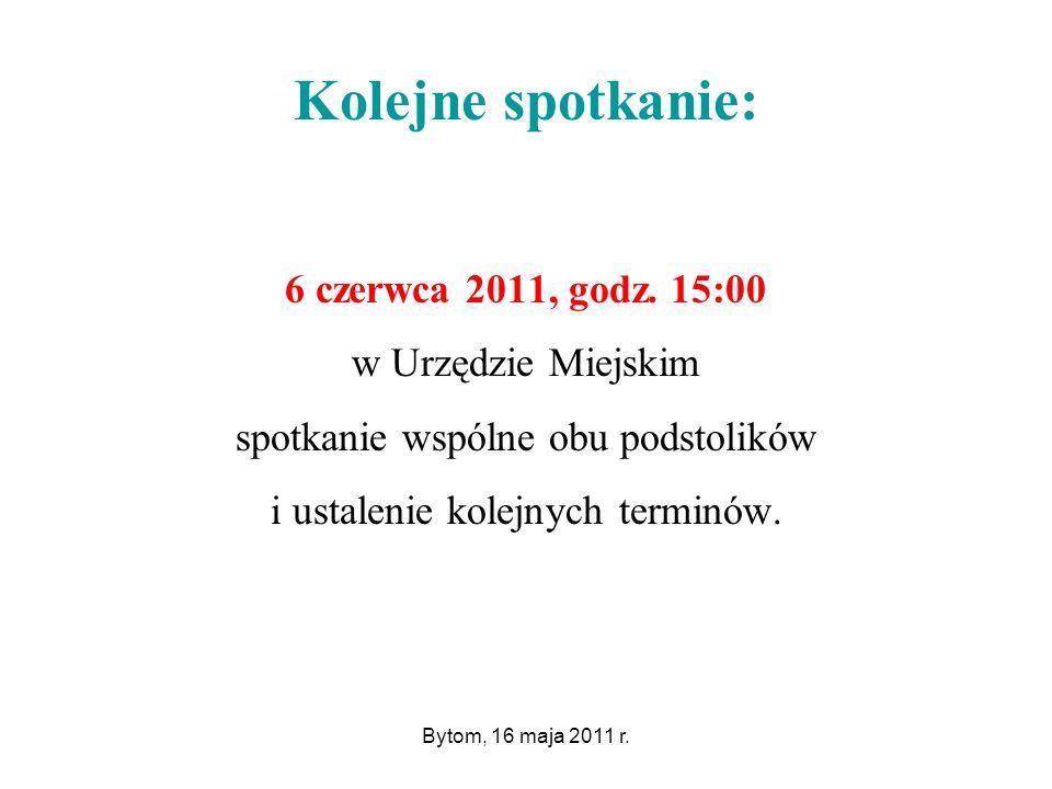 Bytom, 16 maja 2011 r. Kolejne spotkanie: 6 czerwca 2011, godz.