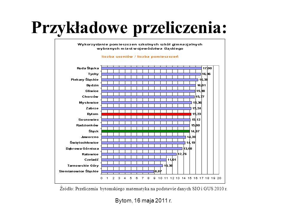 Bytom, 16 maja 2011 r. Przykładowe przeliczenia:.