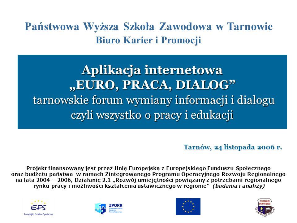 Aplikacja internetowa EURO, PRACA, DIALOG tarnowskie forum wymiany informacji i dialogu czyli wszystko o pracy i edukacji Tarnów, 24 listopada 2006 r.