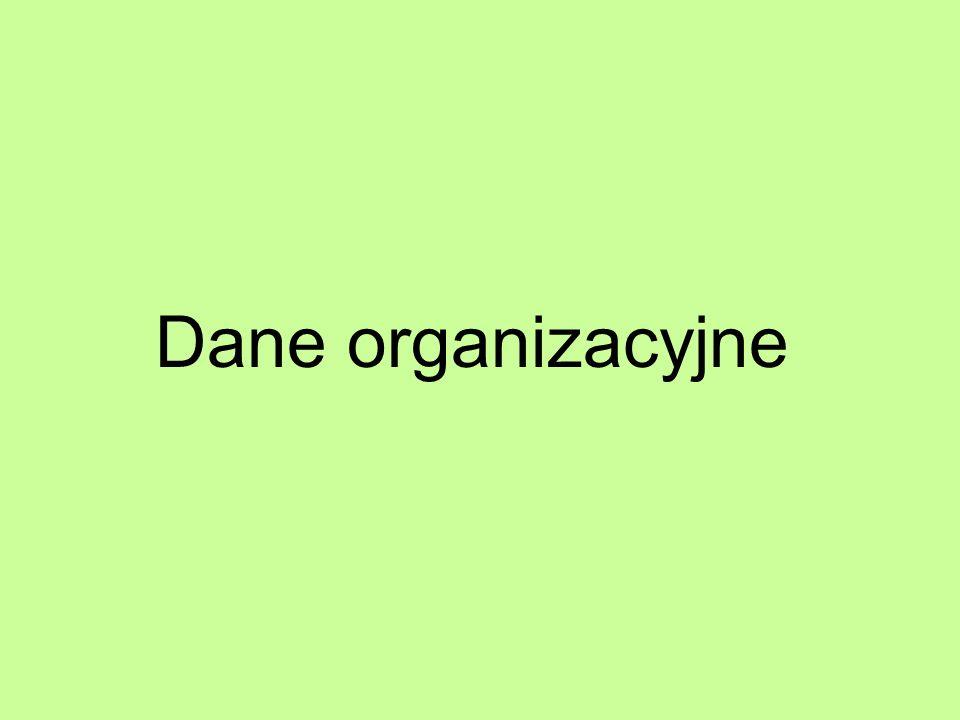 Dane organizacyjne
