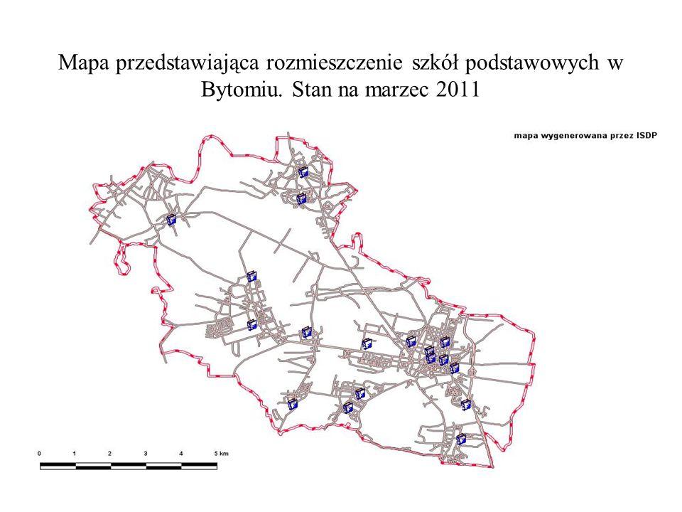 Mapa przedstawiająca rozmieszczenie szkół podstawowych w Bytomiu. Stan na marzec 2011