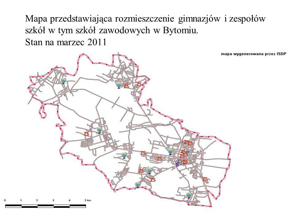 Mapa przedstawiająca rozmieszczenie gimnazjów i zespołów szkół w tym szkół zawodowych w Bytomiu. Stan na marzec 2011