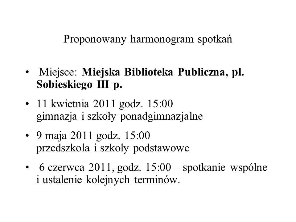 Proponowany harmonogram spotkań Miejsce: Miejska Biblioteka Publiczna, pl. Sobieskiego III p. 11 kwietnia 2011 godz. 15:00 gimnazja i szkoły ponadgimn