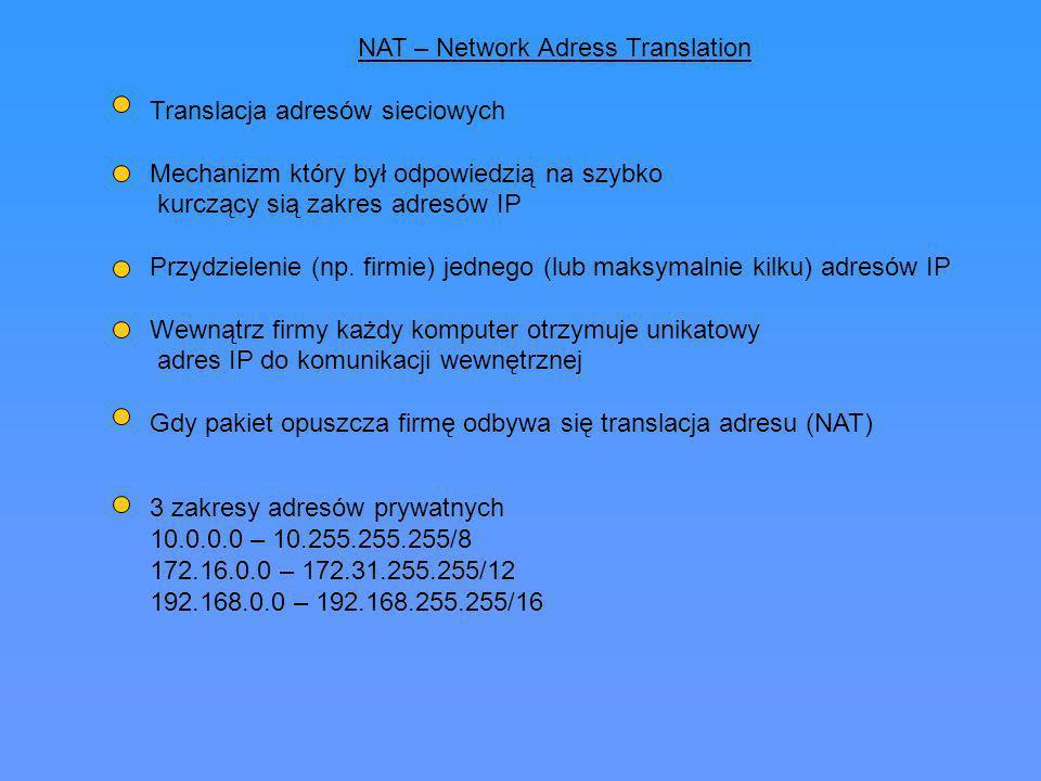 NAT – Network Adress Translation Translacja adresów sieciowych Mechanizm który był odpowiedzią na szybko kurczący sią zakres adresów IP Przydzielenie