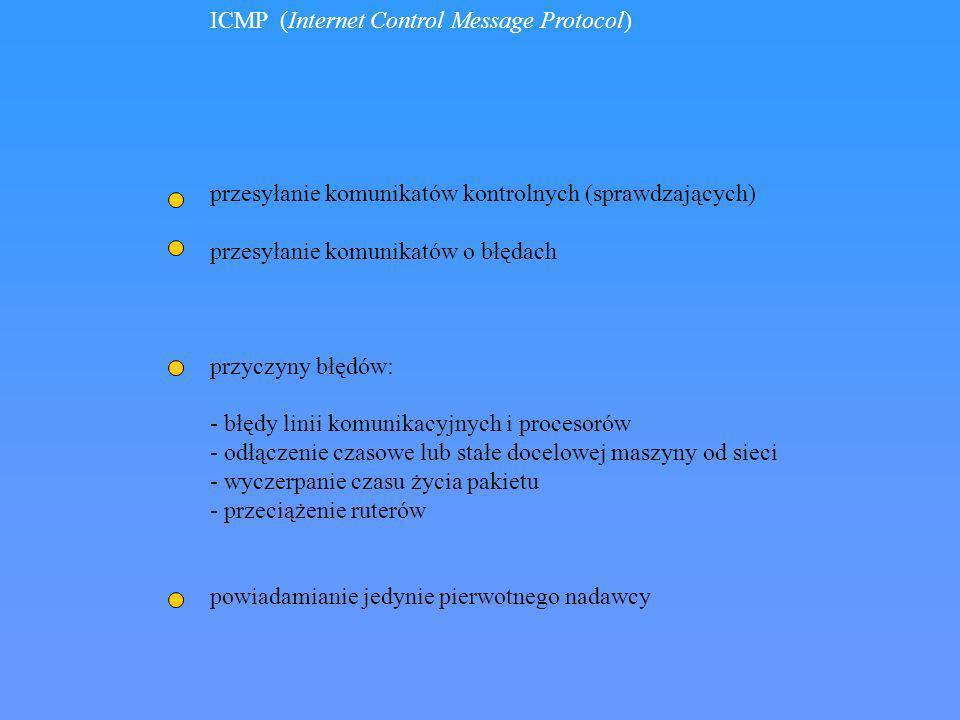 ICMP (Internet Control Message Protocol) przesyłanie komunikatów kontrolnych (sprawdzających) przesyłanie komunikatów o błędach przyczyny błędów: - bł