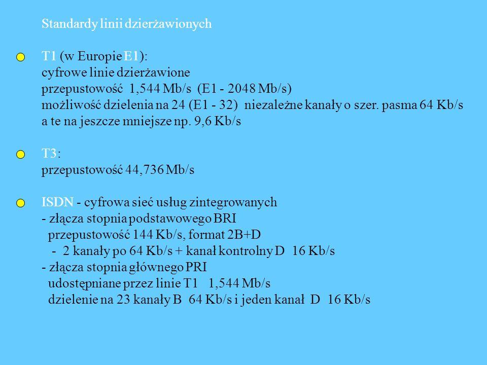 Standardy linii dzierżawionych T1 (w Europie E1): cyfrowe linie dzierżawione przepustowość 1,544 Mb/s (E1 - 2048 Mb/s) możliwość dzielenia na 24 (E1 -