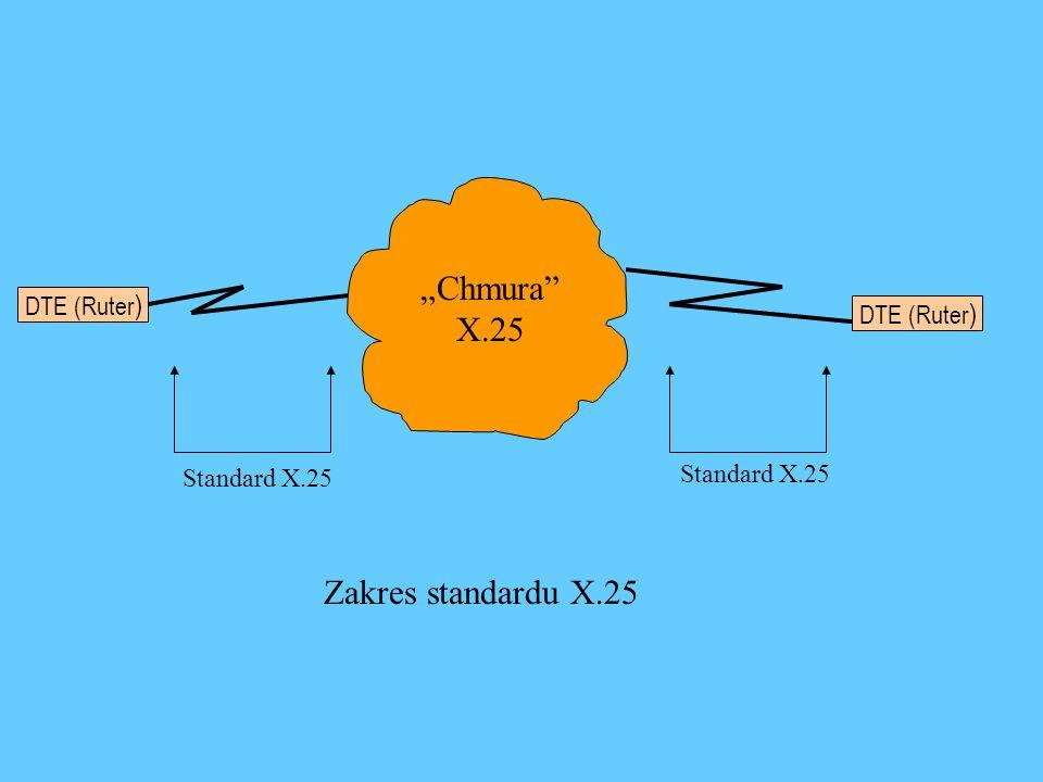 DTE (Ruter ) Chmura X.25 Standard X.25 Zakres standardu X.25