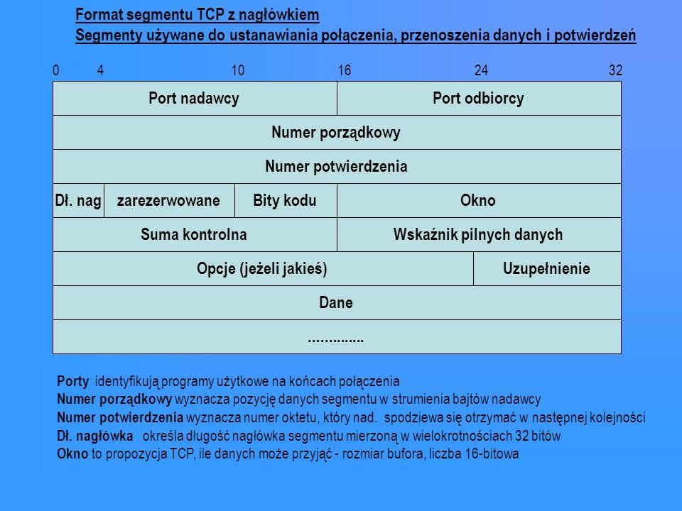 Port nadawcyPort odbiorcy 0 4 10 16 24 32 Numer porządkowy Numer potwierdzenia OknoDł. nagBity koduzarezerwowane Suma kontrolnaWskaźnik pilnych danych