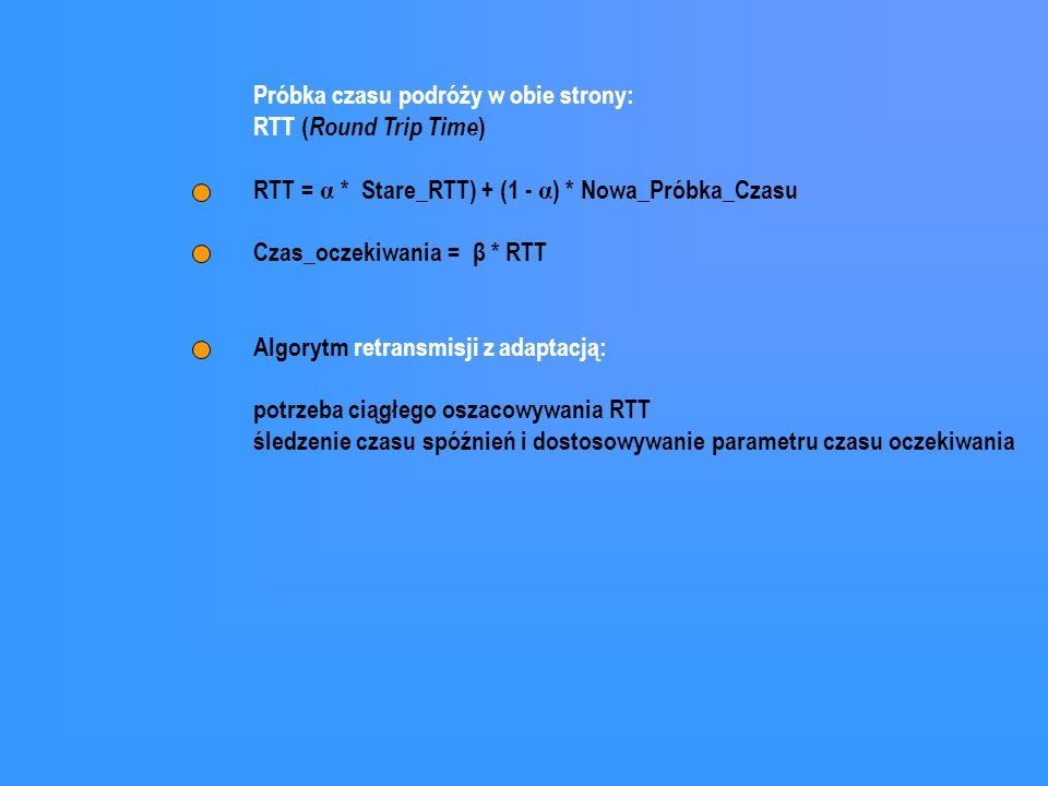 Próbka czasu podróży w obie strony: RTT ( Round Trip Time ) RTT = α * Stare_RTT) + (1 - α ) * Nowa_Próbka_Czasu Czas_oczekiwania = β * RTT Algorytm re