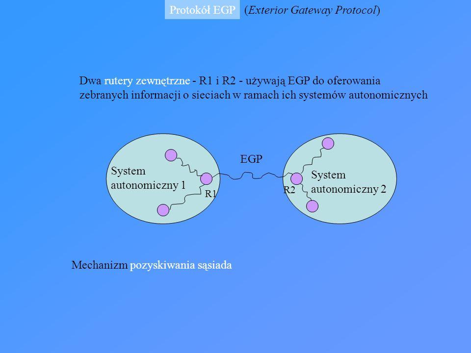 Protokół EGP System autonomiczny 1 System autonomiczny 2 R1 R2 EGP (Exterior Gateway Protocol) Dwa rutery zewnętrzne - R1 i R2 - używają EGP do oferow