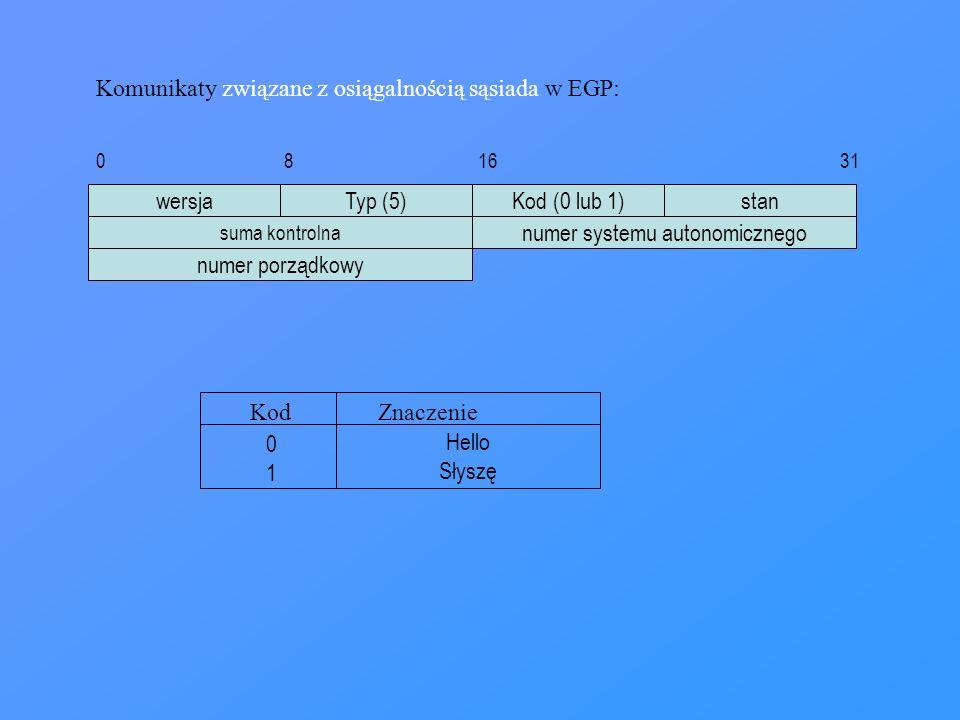 wersjaTyp (5)Kod (0 lub 1)stan suma kontrolna numer systemu autonomicznego numer porządkowy 0 8 16 31 Komunikaty związane z osiągalnością sąsiada w EG