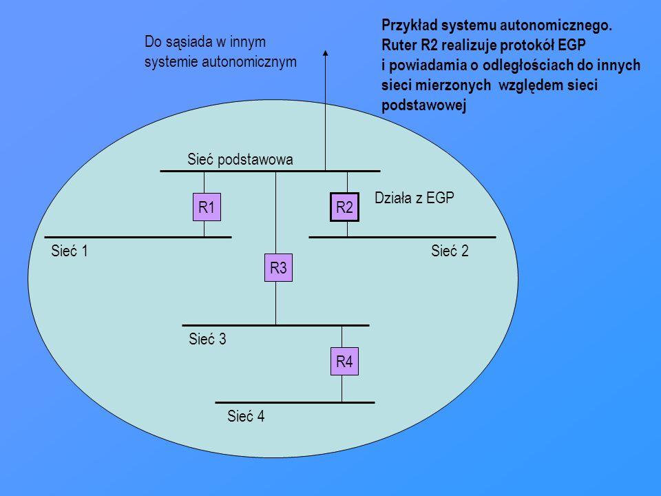 R1 R2 R4 R3 Sieć podstawowa Sieć 1Sieć 2 Sieć 3 Sieć 4 Działa z EGP Do sąsiada w innym systemie autonomicznym Przykład systemu autonomicznego. Ruter R