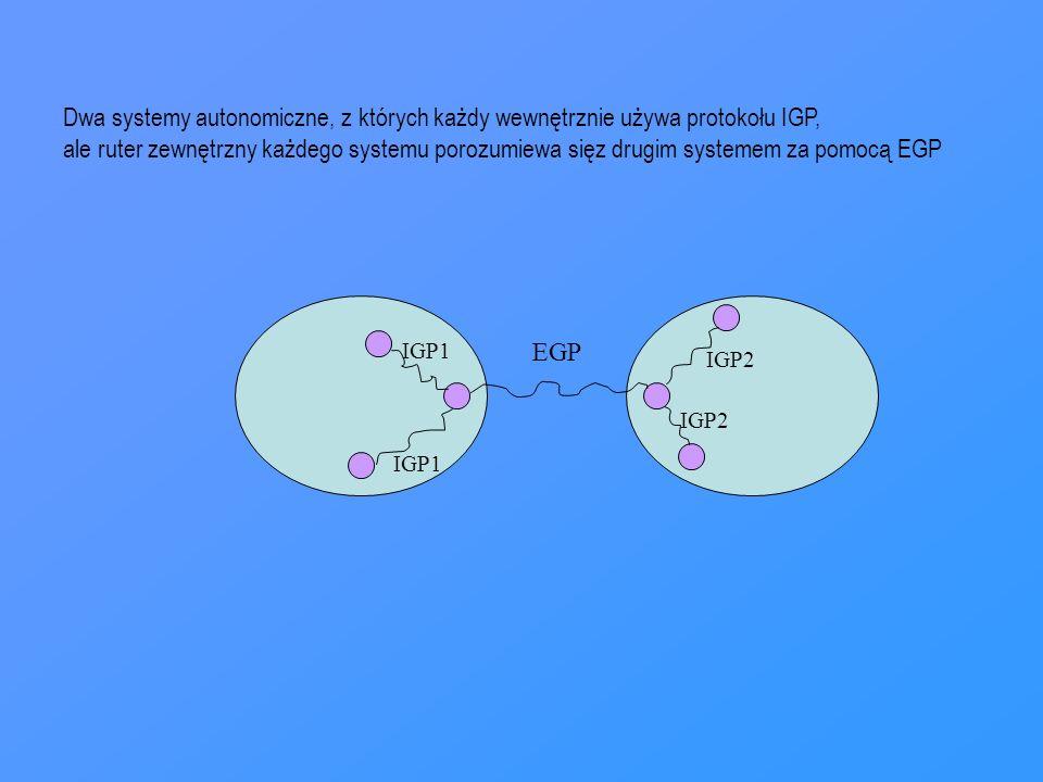 IGP1 IGP2 EGP Dwa systemy autonomiczne, z których każdy wewnętrznie używa protokołu IGP, ale ruter zewnętrzny każdego systemu porozumiewa sięz drugim