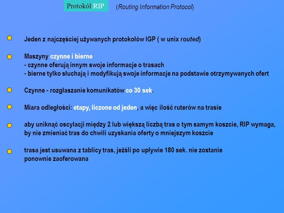 Protokół RIP ( Routing Information Protocol ) Jeden z najczęściej używanych protokołów IGP ( w unix routed ) Maszyny czynne i bierne - czynne oferują