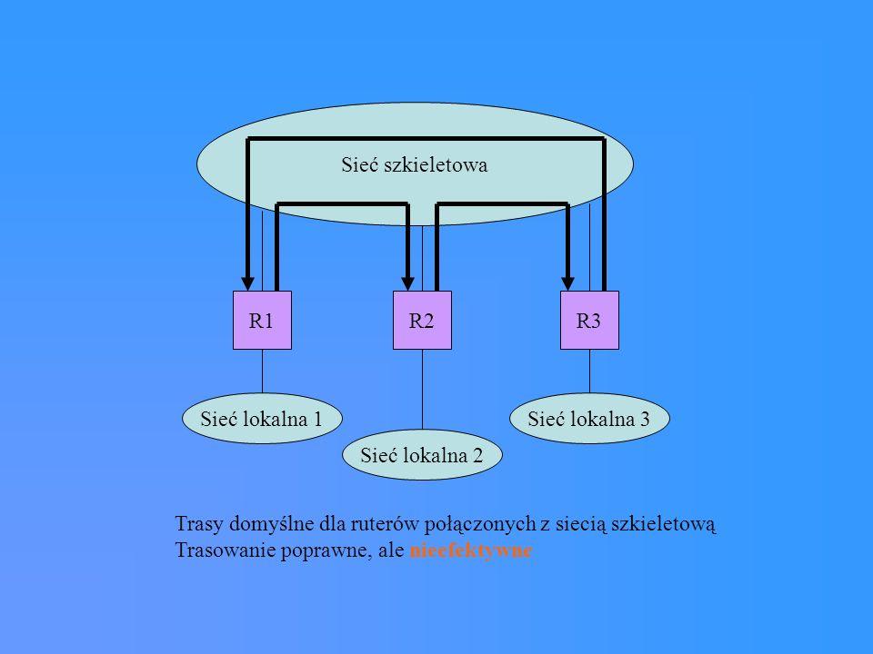 System ruterów podstawowych Z1 Z2 Z3 Z7 Z5 Zn Z4 Z6 Rutery podstawowe - nie korzystają z tras domyślnych Rutery zewnętrzne (poboczne) - korzystają z tras domyślnych