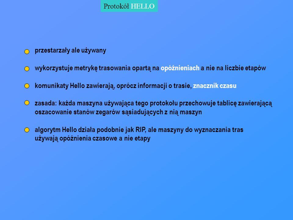 Protokół HELLO przestarzały ale używany wykorzystuje metrykę trasowania opartą na opóźnieniach a nie na liczbie etapów komunikaty Hello zawierają, opr